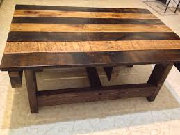 Astounding Two Tone Brown And Dark Brown Reclaimed Wood Coffee Table With  Wood Legs As Patio Furnishings Trick