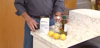 Natural cleaning products include baking soda, vinegar, olive oil, and  lemons.