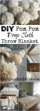 diy blankets and throws diy pom pom drop cloth throw blanket how to make