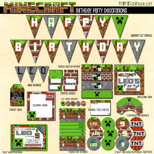 Minecraft Party Decorations Minecraft Party Lets Build A Birthday Mimis Dollhouse