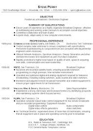 sample resume for a broadcast electronics engineer electronic engineer resume sample