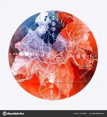 Skica Tetování Abstraktní Květiny Geometrické Tvary Barva Laku