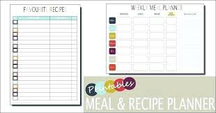 Meal Budget Planner Monthly Food Menu Template Family Planner Meal Word