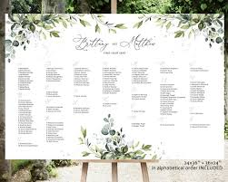 Reese Alphabetical Wedding Seating Chart Seating Chart Wedding Greenery Seating Template Wedding Seating Board Greenery Seating Chart