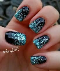 Deep Blue Nails With Bright Glitter Nehty Zdobení Nehty Nehty
