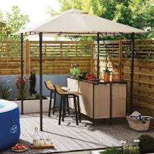 garden gazebo. Complete With Bar, Two Stools And Overhead Wine Glass Storage Garden Gazebo