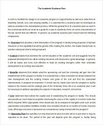 business plan in word sample example format  academic business plan in word