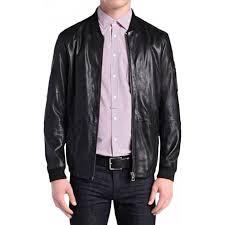 boss orange jemmay leather jacket in black
