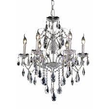 elegant lighting 6 light chrome chandelier with clear crystal