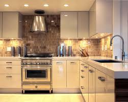 backsplash lighting. Example Of A Trendy Open Concept Kitchen Design In San Francisco With Stainless Steel Appliances Backsplash Lighting Houzz
