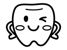 かわいい歯のキャラクターの白黒イラスト02 かわいい無料の白黒