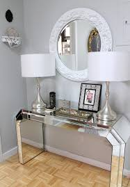 O Dazzling Mirrored Console Table In Hall Eclectic With Benjamin Moore Sweet  Innocence Next To Entryway Table Alongside Mirrors And Selfadhesive
