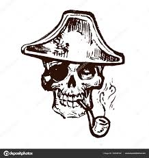 череп скелет головы пиратский треугольник шляпа чернила рука
