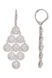 image of nadri crystal halo chandelier kite drop earrings