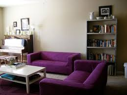 interior remarkable purple velvet sofa covers combine white coffee table and open plan book shelves