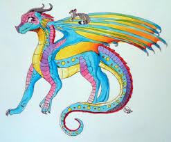 my dragonsona for wings of fire she is a rain sea wing abilities some scales change color magical spit glowing spots the circular spots can change