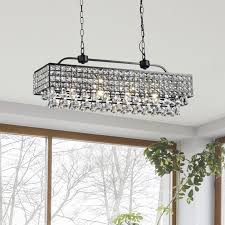 jolie antique black 5 light rectangular crystal chandelier inside idea 13