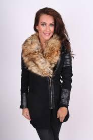 black faux leather biker coat with beige faux fur trim collar