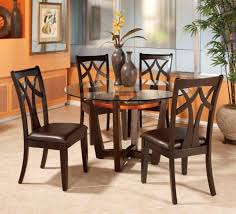 round gl top dining table set w 4 wood back side chairs