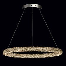 interior view luxury led round pendant light in chrome with multicolour crystal décor save