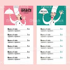 french menu template chef french kitchen vector illustration of menu template stock