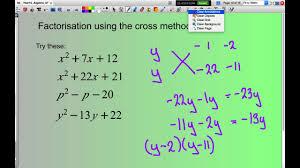 factorise monic quadratic equations using the cross method