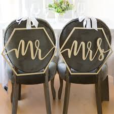 mr. & mrs. wedding <b>bride groom</b> chair signs set hanging <b>wooden</b> ...