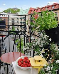 Terrace and Garden: Summer Scandinavian Balcony With Flower Ideas - Balcony