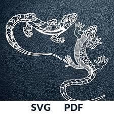 Two Designs Svg Pdf Cut File Paper Cutting Template Gecko Lizard Papercut Diy Project Vinyl Digital Printing Template