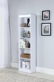white office bookcase. HOME OFFICE : BOOKCASES - Transitional White Five-Shelf Narrow Bookcase White Office Bookcase 5