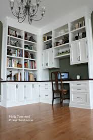 office dining room. DIY Home Office Built-in Bookshelves Full Room View Dining