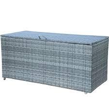 wicker outdoor storage patio container deck box grey