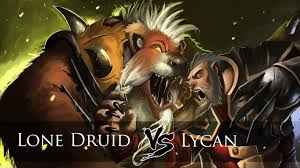 dota 2 lone druid vs lycan one click battle youtube
