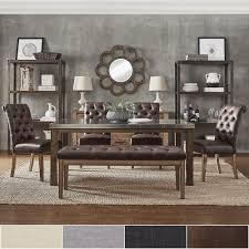 Cassidy Stainless Steel Top Rectangle Dining Table 6-Piece Set by iNSPIRE Q  Artisan - Free Shipping Today - Overstock.com - 20429363