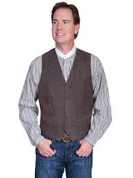 scully men s leather vest lambskin on front brown big