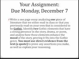 literary analysis essay your assignment and an in depth  your assignment due monday 7 0 write a one page essay analyzing one