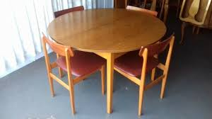 vintage retro teak round extending dining table with four teak dining chairs free local delivery