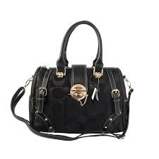 Coach Lock In Monogram Medium Black Luggage Bags BYX