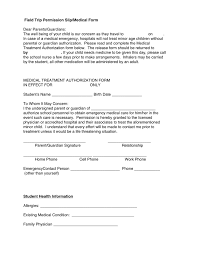 Field Trip Permission Slip Medical Form In Word And Pdf Formats