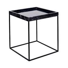 modern designer black marble tray side table black steel base