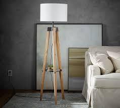 surprising inspiration wood tripod floor lamp best design interior miles pottery barn dark modern oak threshold mariner