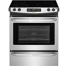 frigidaire smooth surface self cleaning slide in electric range easycare stainless steel