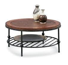com round cocktail table with faux leather top and