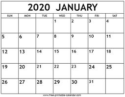 Calendar 2020 Template Free January 2020 Calendar Template Free Printable Calendar Com