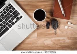 office table top. Office Desk Table Top View No People With Laptop, Notepad, Pen, Pen Drive