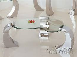 Metro Chrome Glass Coffee Table W/Glass Top   By Acme Furniture
