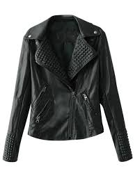 zippered lapel collar biker jacket black l