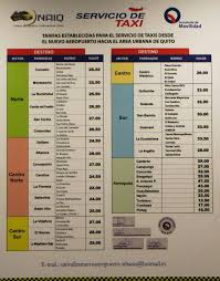 Aruba Taxi Fare Chart What Are The Quito Airport Taxi Rates Gringosabroad
