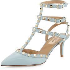 valentino rockstud leather mid heel pump light blue