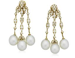 cultured pearl and diamond chandelier earrings